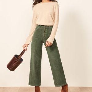 Reformation Austin Green Corduroy Pants Size 26